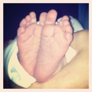 Hadasah's feet at birth
