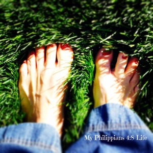 Barefoot in the grass...It's spring!