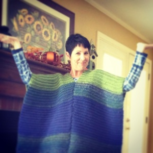 My reading poncho made by my sweet sister...